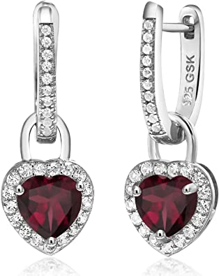 Natural Black Sapphire and Garnet drops on Sterling Silver earrings