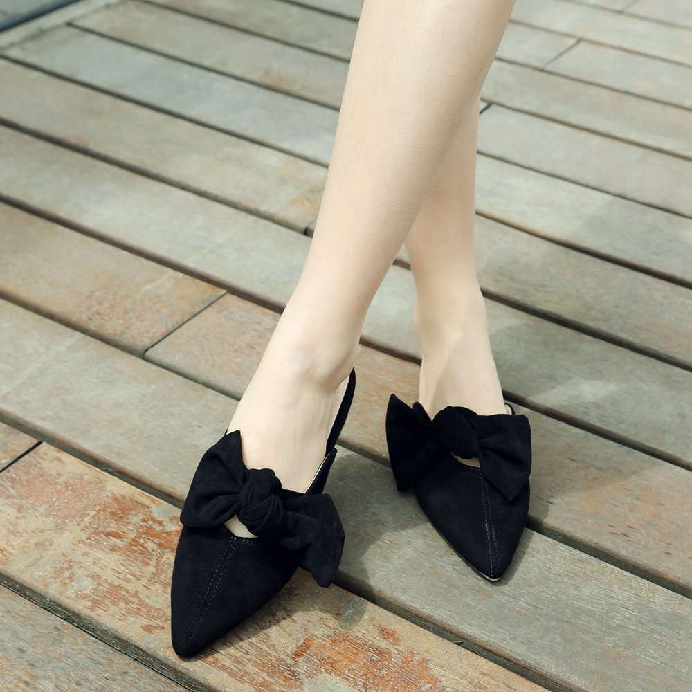 Cicime Women's Mules Bowknot Pointed Toe Backless Slip On Flat Loafers Slide Slippers Black Suede by Cicime (Image #2)