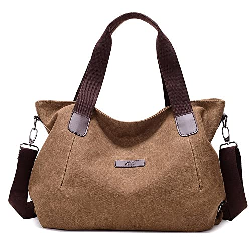 c2dc611f5e Amazon.com  Shoulder Bag Messenger Bag Fashion for Women Lady Girls Student  Canvas Tote Bag Casual School Work Travel Bag Purses Brown  Shoes