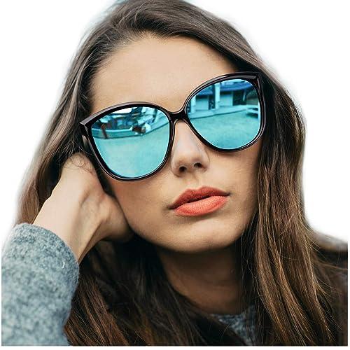 e964f6bdaa4 Amazon.com  LVIOE Cat Eye Sunglasses for Women