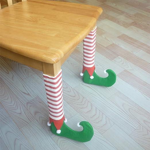 Zantec Juguetes de Navidad, Decoracion Navideña, Lindo 4 Unids / set Mesa de Navidad Silla Pierna Cubre Patas de Santa Claus Zapatos Piernas Divertidas ...