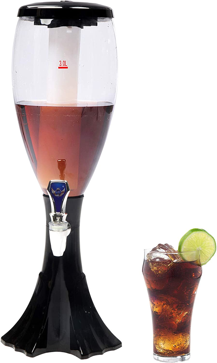 LUCKYERMORE 1 Pc Beer Tower 4.5 Liters Drink Beverage Dispenser Plastic with Ice Tube Keep Cold for Birthday Party Bar