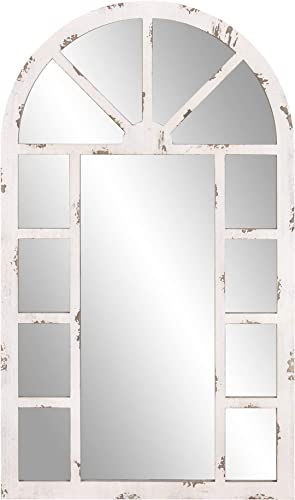 Patton Wall Decor 24×40 Distressed White Arch Windowpane Wall Mounted Mirrors