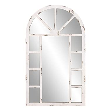 Patton Wall Decor 24x40 Distressed White Arch Windowpane Wall Mounted Mirrors