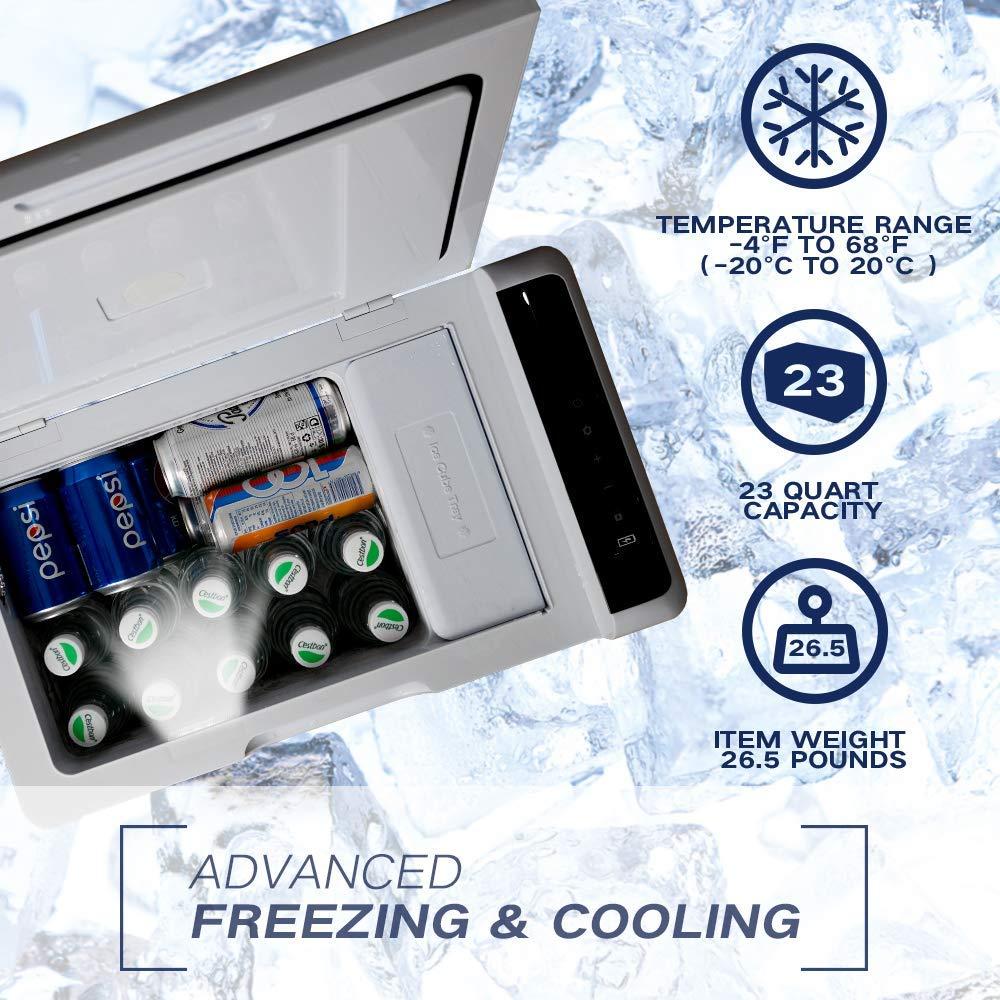 Geckoes 23 Quart 12 volt Portable Car Refrigerator Car Fridge Car Freezer Mini Fridge Freezer compact refrigerator for car and home -4 F 68 F White