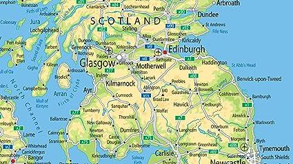 A0 papel - UK mapa físico [ga] laminado gigante tamaño.: Amazon.es: Hogar