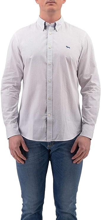 Harmont & Blaine - Camisa Blanca de algodón con Lunares Azules: Amazon.es: Ropa y accesorios