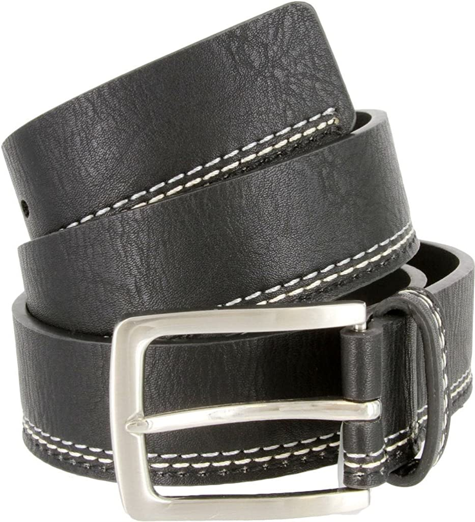 or Grey Navy Triple Stitched Design Genuine Leather Casual Jean Belt for Men Black