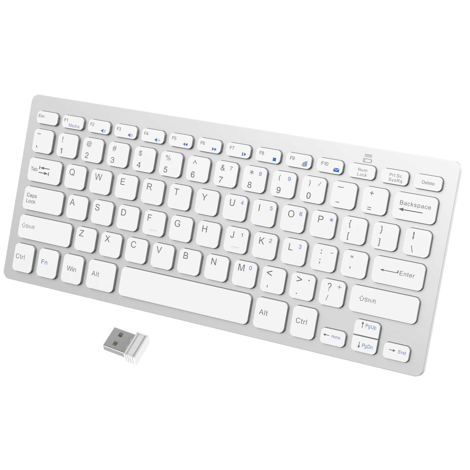 JETech 2.4GHz Wireless Keyboard for Windows (White) 2161-KB-WIRELESS-WH