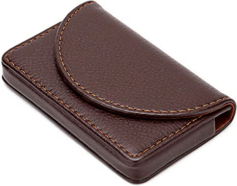 Leather Business Card Holder Case Dmfly Slim Business Card Case Pocket Name Card Holder With Magnetic Shut Holds 25 Business Cards Coffee