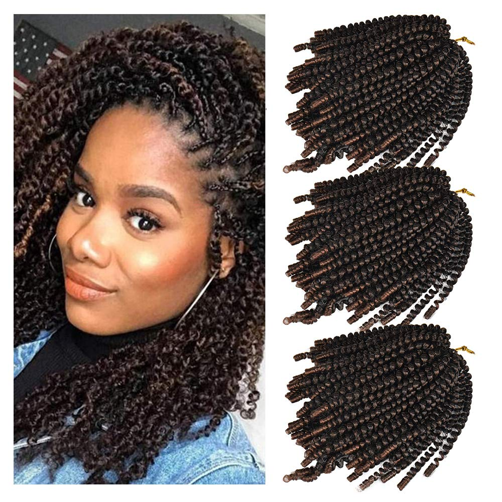 3 Pack Spring Twist Hair Crochet Braids Ombre Colors 8inch Synthetic Braiding Hair Extensions (T1B/30)