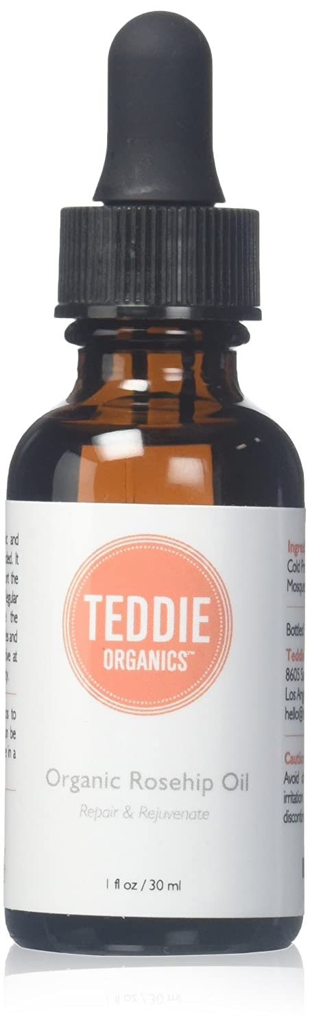 Teddie Organics Rosehip Seed Oil for Face, Hair and Skin 1oz, Pure Rose Hip Oil works as carrier and facial oil NA