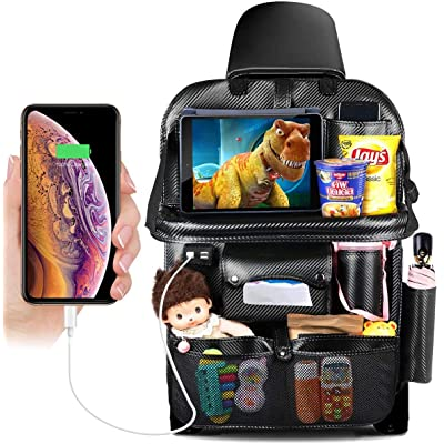 DRIVIM Car Backseat Organizer, Multifunctional Premium PU Leather Travel Car Organizer for Kids with Foldable Tray, iPad Phone Umbrella Bag, Tissue Box, 3 Mesh Bags, 1 Large Bag 4-USB Port (Black): Home Improvement