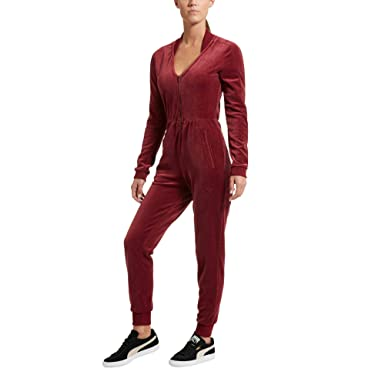 53734a62c10b Puma Womens Velour T7 Jumpsuit 516472-04 - Red -  Amazon.co.uk  Clothing
