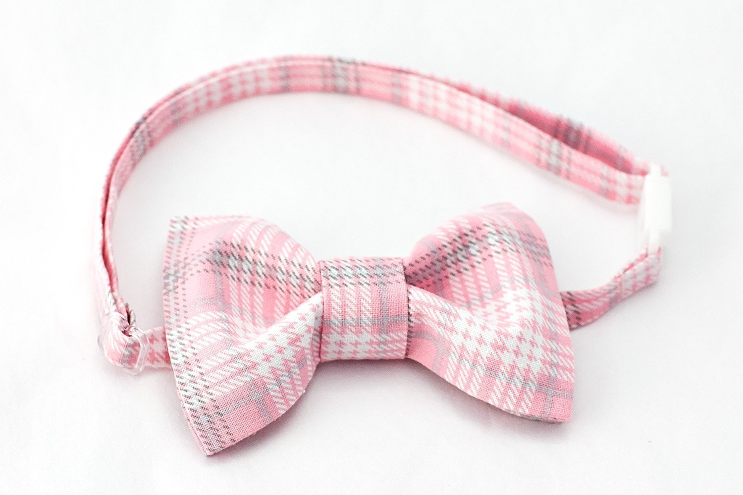 Pink Plaid Bow Tie Boys - Pink/White/Grey Plaid - Adjustable Plastic Clip and Slider Closure - Sizes up to 9 years old