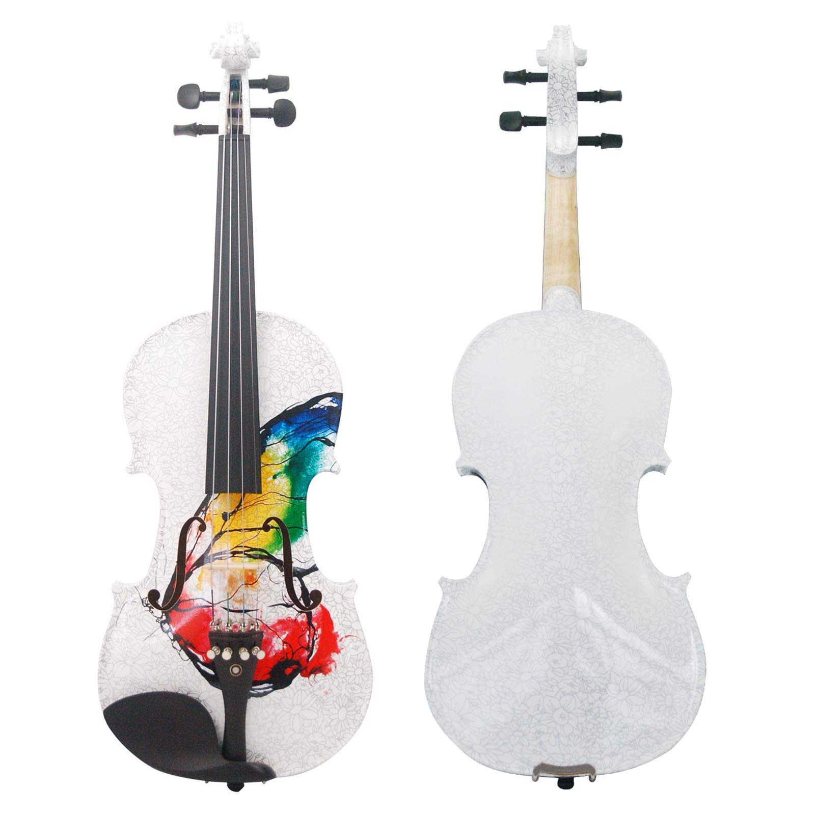 Kinglos 4/4 Butterfly Flower Colored Ebony Fitted Solid Wood Violin Kit with Case, Shoulder Rest, Bow, Rosin, Extra Bridge and Strings Full Size (NHS3002) by Kinglos (Image #2)
