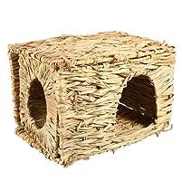 UEETEK Natural hecha a mano de hierba cabaña casa de la casa de paja hierba de aves cubby jerarquía jaula para el conejo de conejo de jerbo chinchillas