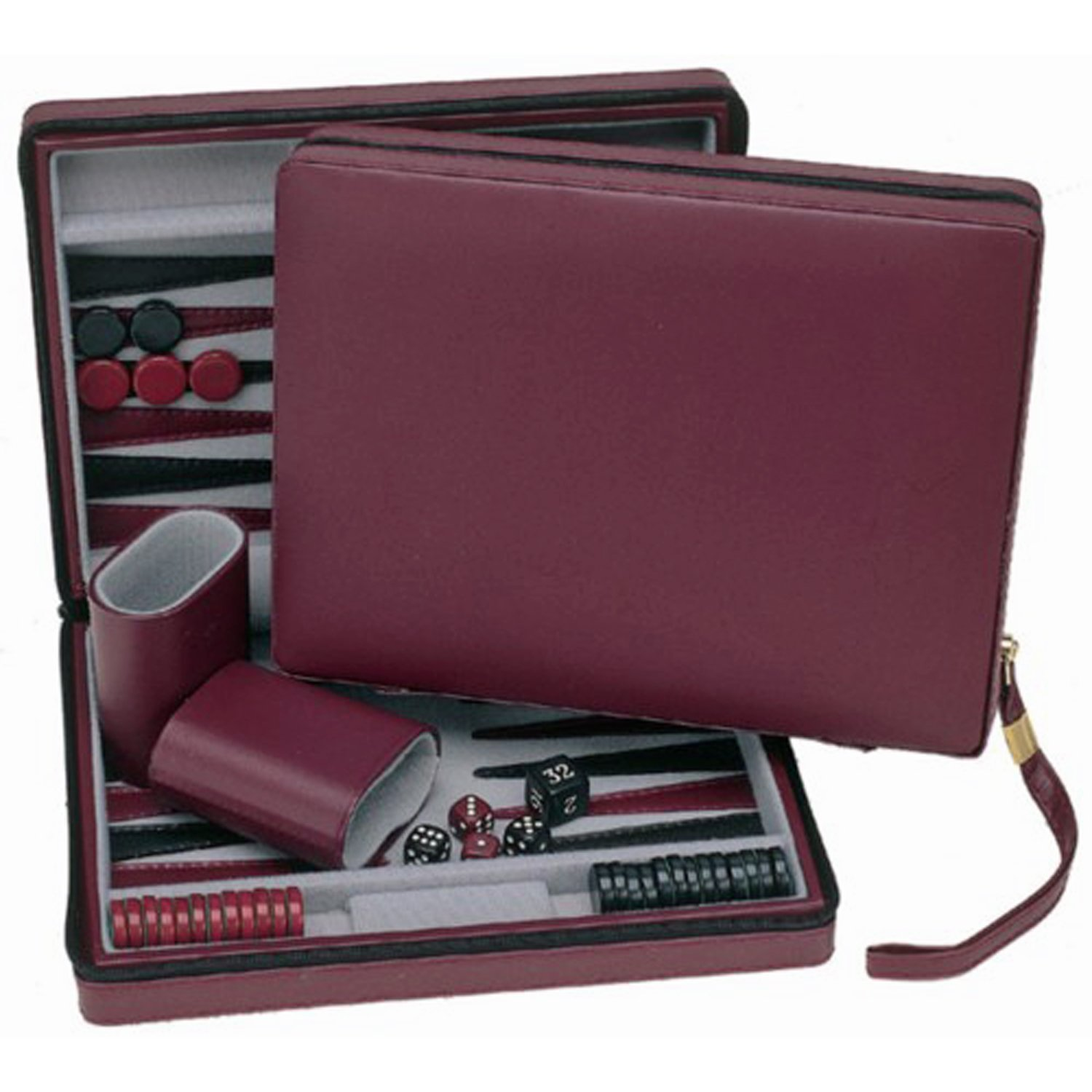 Burgundy Magnetic Backgammon Set with Carrying Strap - Travel Size