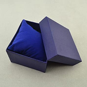 collectsound - Caja Cuadrada de cartón para Guardar Relojes, Pulseras, Joyas, Caja de Regalo con Almohadilla de Almohada, Azul, Talla única: Amazon.es: ...