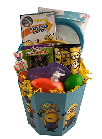 Large minion prefilled easter gift basket bucket for boys and large minion prefilled easter gift basket bucket for boys and girls with chocolate bunny and toys negle Image collections