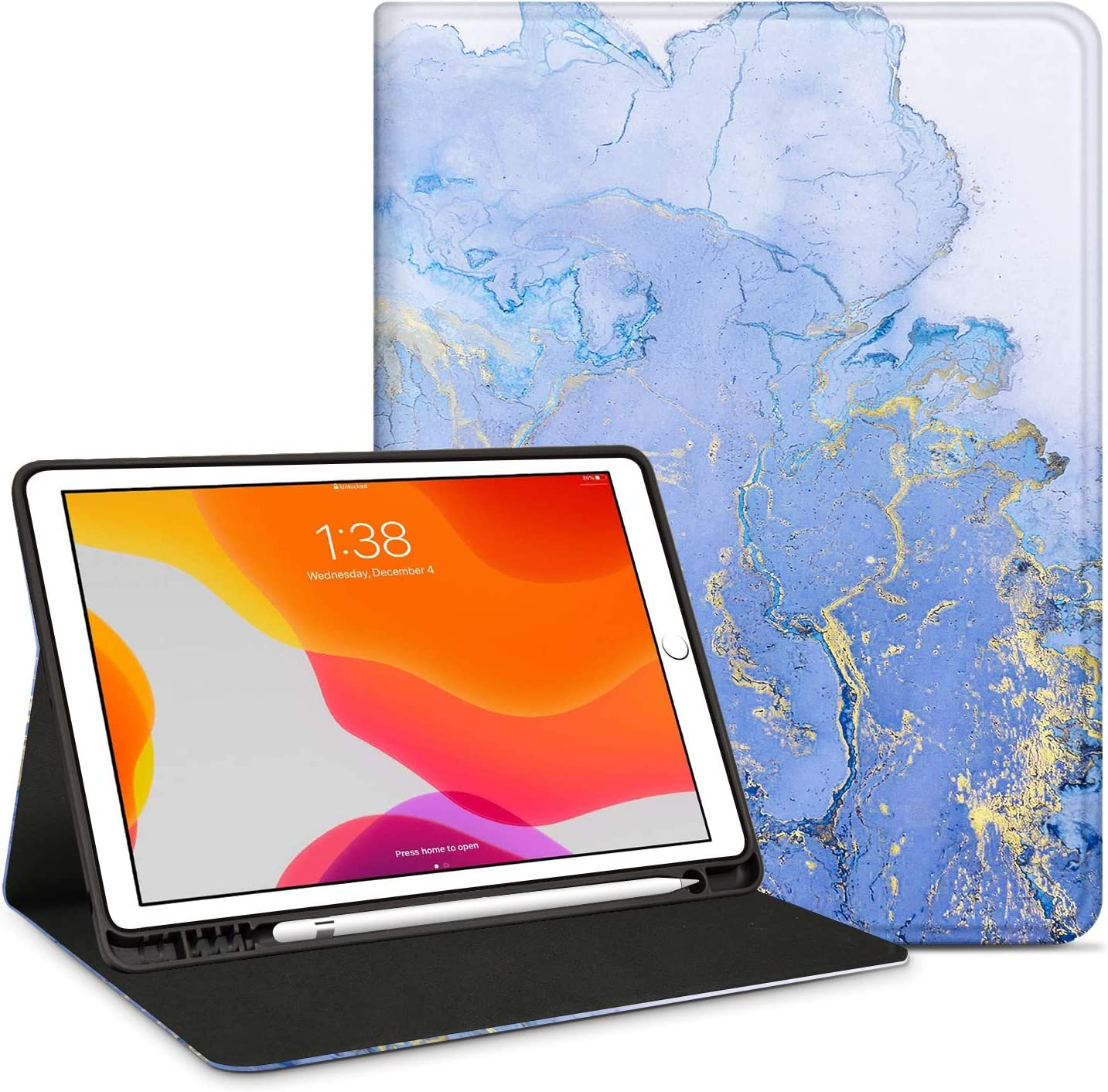 """INSSISAIN Smart Case for New iPad 7th Generation 10.2"""" 2019 with Pencil Holder, PU Leather Protective Smart Cover with Auto Sleep/Wake for New Apple iPad 7th Generation 10.2 2019 Release, Marble-2"""