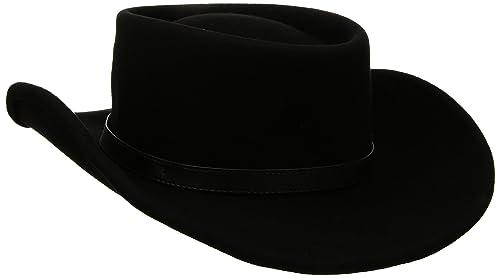 Black Maz Crushable Wool Felt Gambler Cowboy Hat with Buckle Band