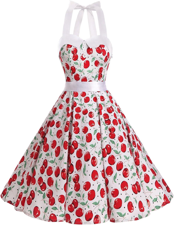 TALLA S. Dressystar Vestidos Corto Cuello Halter Estampado Flores y Lunares Vintage Retro Fiesta 50s 60s Rockabilly Mujer Cherry2 S