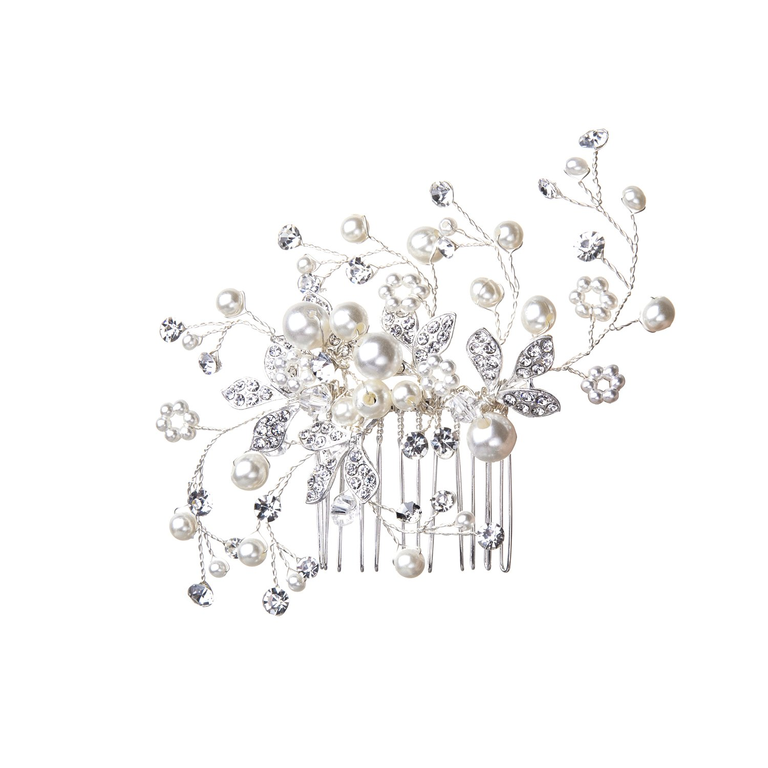 Feyarl Handmade Pearl Rhinestone Crystal Bridal Hair Side Comb Wedding Headpiece, Decorative Combs(Silver)