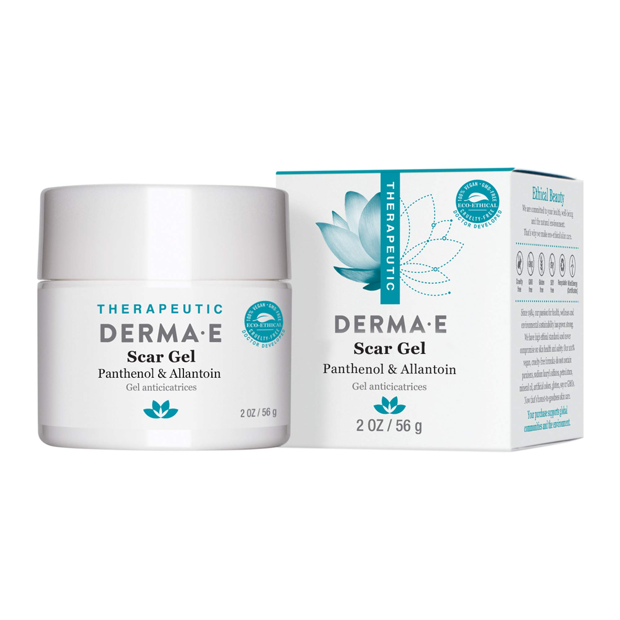 DERMA E Scar Gel - Therapeutic gel with Panthenol & Allantoin - Effective treatment & natural scar removal. Treats acne scars, burns, tattoos, callouses, & stretchmarks