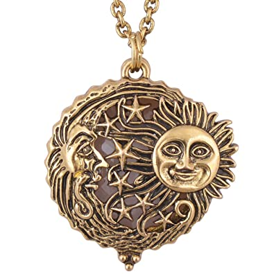 Amazon sun moon and star magnifier glass pendant necklace sun moon and star magnifier glass pendant necklace antique gold magnetic close and open aloadofball Images