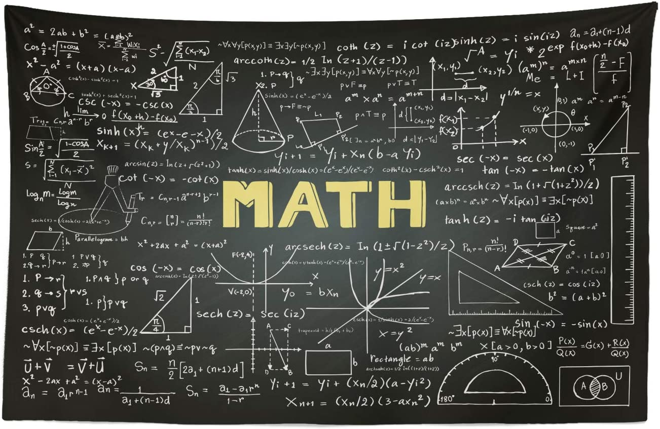 Lunarable Mathematics Classroom Tapestry, Dark Blackboard Backdrop with Math Equations Geometry Axis Art, Fabric Wall Hanging Decor for Bedroom Living Room Dorm, 45