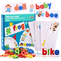 LET'S GO! See and Spell Learning Toys, Matching Letter Spelling Game Sight Words Games Educational Preschool Toys Learning Toys for 2-4 Year Old Girls Boys - Best Gifts ( 52 Alphabet Blocks)