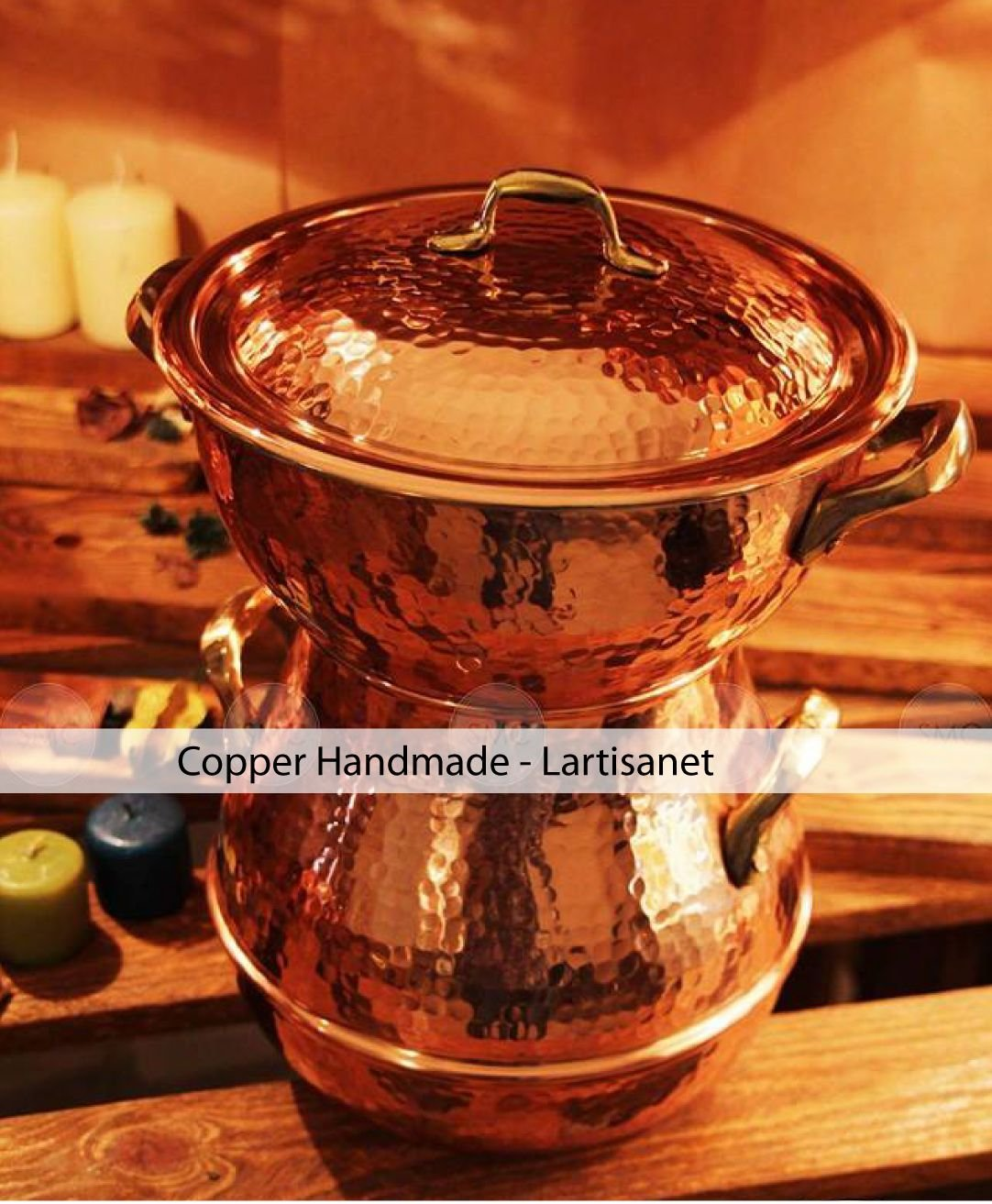 COPPER STEAMER POT - Hand hammered solid copper couscous pot -steamer pot - copper steaming pot (14 cm) Thiyya