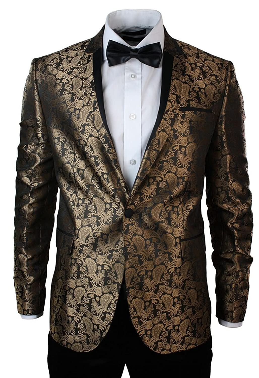 Warthel Mens Slim Fit Gold Black Paisley Suit Tuxedo Wedding Party ...