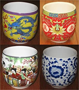 JapanBargain, Chinese Porcelain Teacup Japanese Tea Cups Dragon Peony Longevity and 12 Beauties 6 Ounce (1, Multicolor)