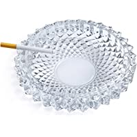 jenifer2015 Crystal Cut Glass Round Ashtray Ash Tray7.67 / Large Ashtray Smoke Collectible Tribal Decoration
