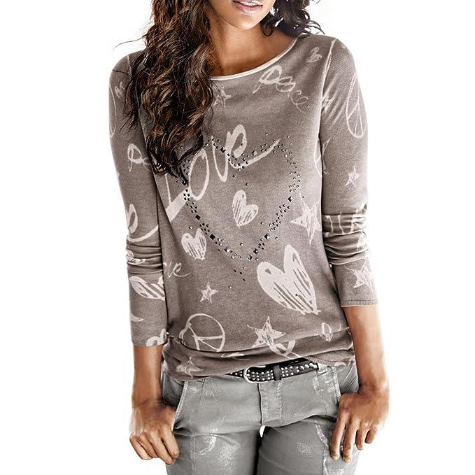 Paellaesp Camiseta para Mujer Camiseta de Manga Larga prenda,blusa Tops camisa resorte otoño invierno