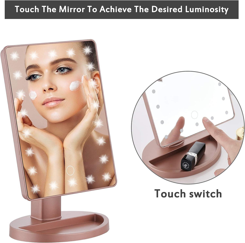 Miroir de Table Pliable /à 180 /° Recharge USB et Batterie Miroir Cosm/étique avec Grossissement x 10 pour Maquillage GERUIKE Miroir /à Maquillage LED Soin du Visage Rasage