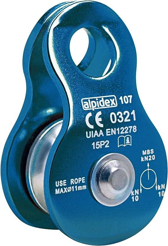 ALPIDEX Polea de reenvío Mobile Pulley 20 kN - para Cuerdas Textiles de hasta 11 mm de diámetro - EN12278