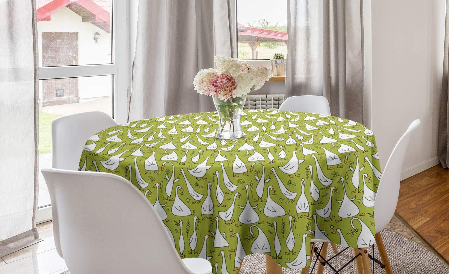 Ambesonne Goose Round Tablecloth, Cartoon Style Funny Creatures Doing Different Things Childish Nursery Theme, Circle Table Cloth Cover for Dining Room Kitchen Decoration, 60