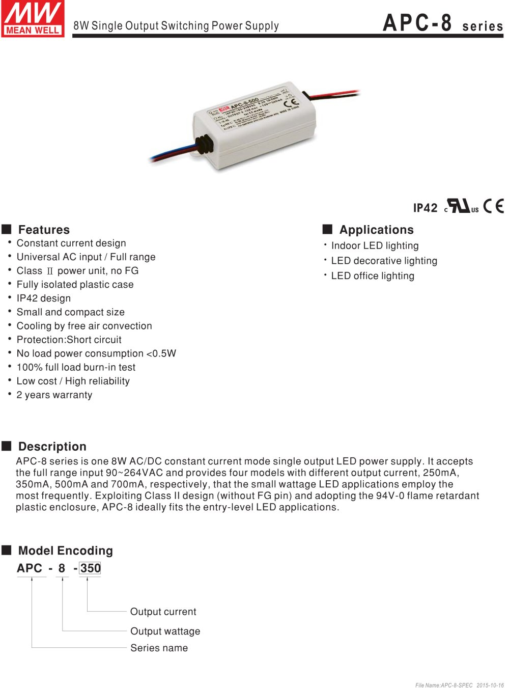Mean Well Switching Power Supply Led Driver110v 220v Ac Dc Single Circuit Series Protection Output Constant Currenttransformer 8w 16 32v 250ma Apc 8 250