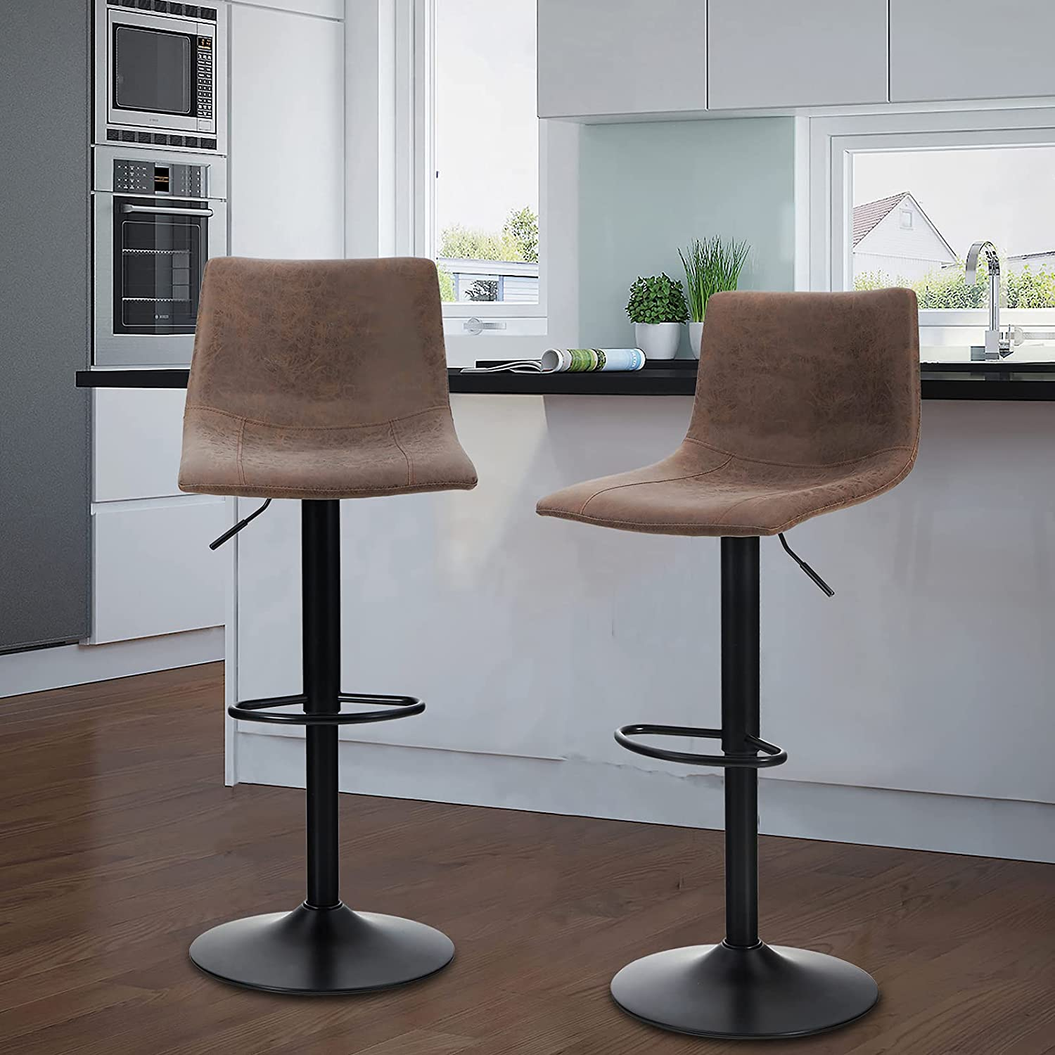 Maison Swivel Bar Stools Set of 2 for Kitchen Counter Adjustable Counter Height Bar Chairs with Back Tall Barstools Faux Leather Kitchen Island Stools, 300LBS Bear Capacity, Brown