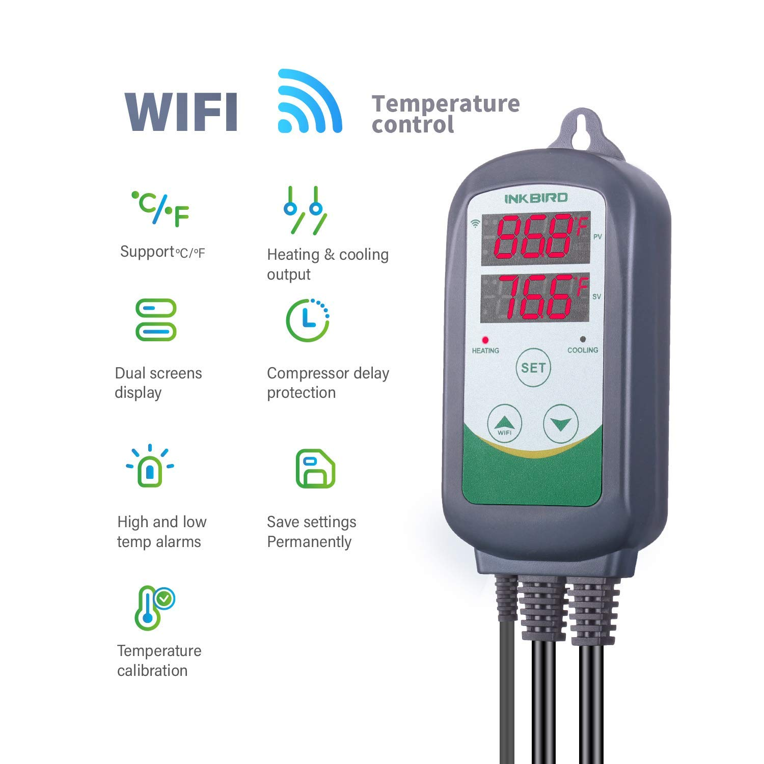 Inkbird WiFi Temperature Controller ITC308 Reptile Freezer Thermostat Digital Heating and Cooling Heater Cooler Greenhouse Plug Outlet 2 Stage 1100W 110V by Inkbird