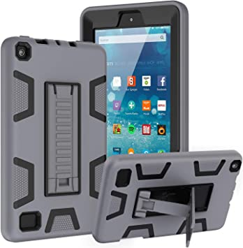 Black 9th//7th Generation ,Kickstand Shock-Absorption Heavy Duty Armor Defender Cover Maomi for KINDIE FlRE 7 case 2019 2017 Release