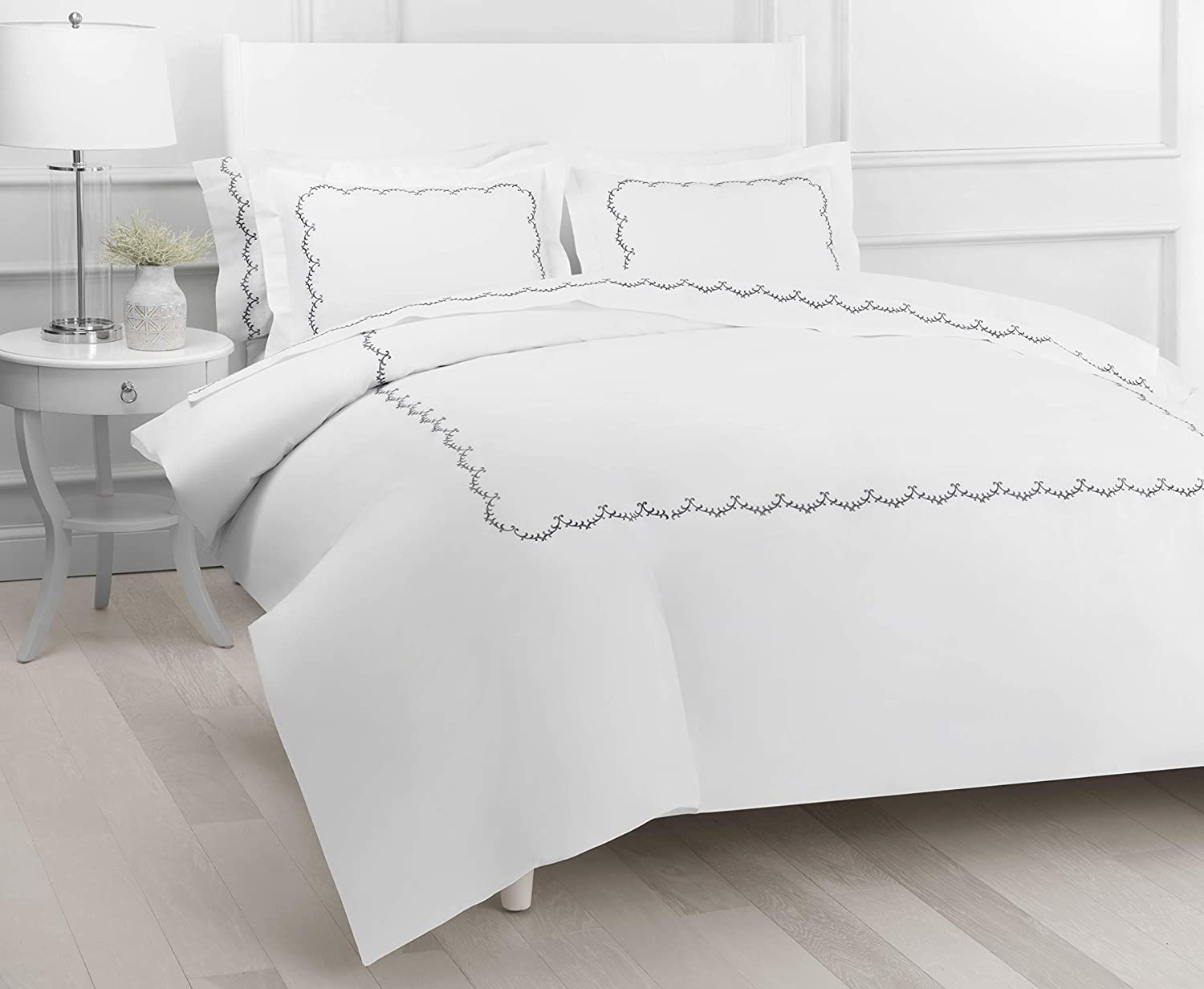 Melange Home Percale Cotton Laurier Embroidery Duvet Set, Full/Queen, White on White