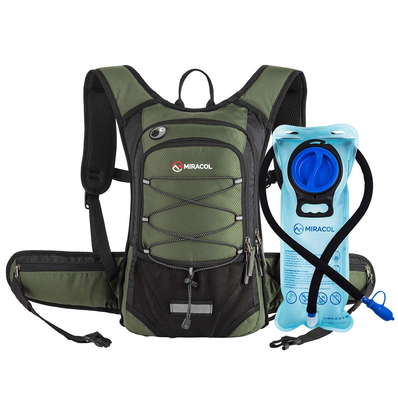 MIRACOL Hydration Backpack with 2L Water Bladder, Thermal Insulation Pack Keeps Liquid Cool up to 4 Hours, Perfect Outdoor Gear for Skiing, Running, Hiking, Cycling (Olive) by MIRACOL