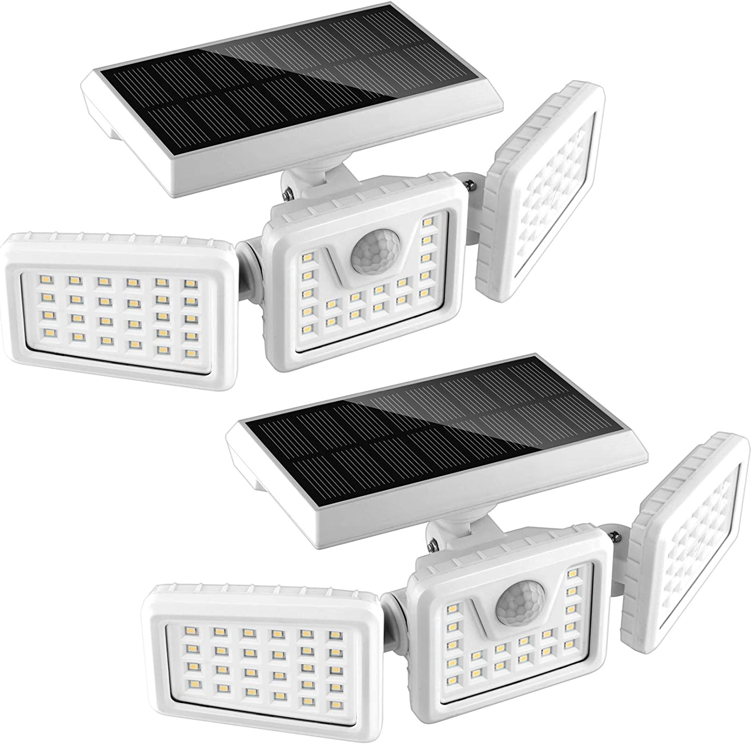 70 LED Solar Motion Lights Outdoor 2 Pack, 3 Heads Solar Security Lights with Motion Sensor IP65 Waterproof, Flood Lights for Wall, Patio, Garden, Porch, Garage White