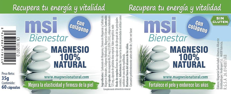 MSI Bienestar Magnesio 100% Natural con Colágeno - 60 cápsulas: Amazon.es: Belleza