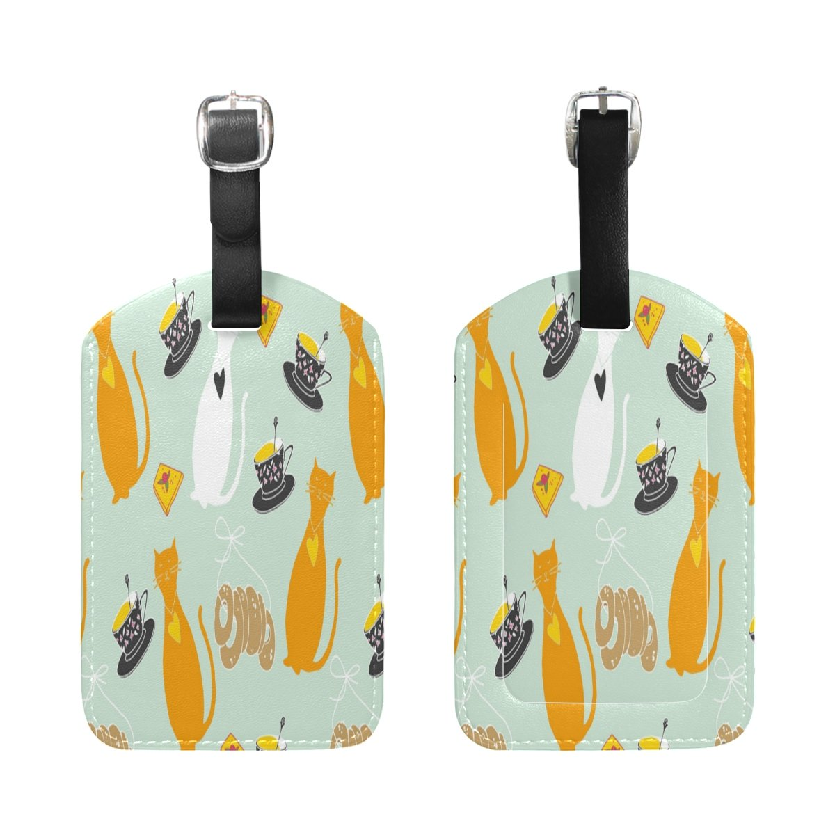 Saobao Travel Luggage Tag Cat And Cup PU Leather Baggage Travel ID