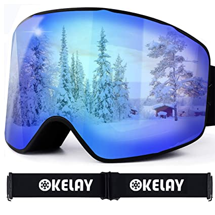 OKELAY Ski Goggles for Men Women Youth, Anti-Fog, OTG Over Glasses, 100% UV400 Protection, Detachable Lens, Anti-Glare Ski Goggles, Suitable for Skiing Snowboarding (Blue)